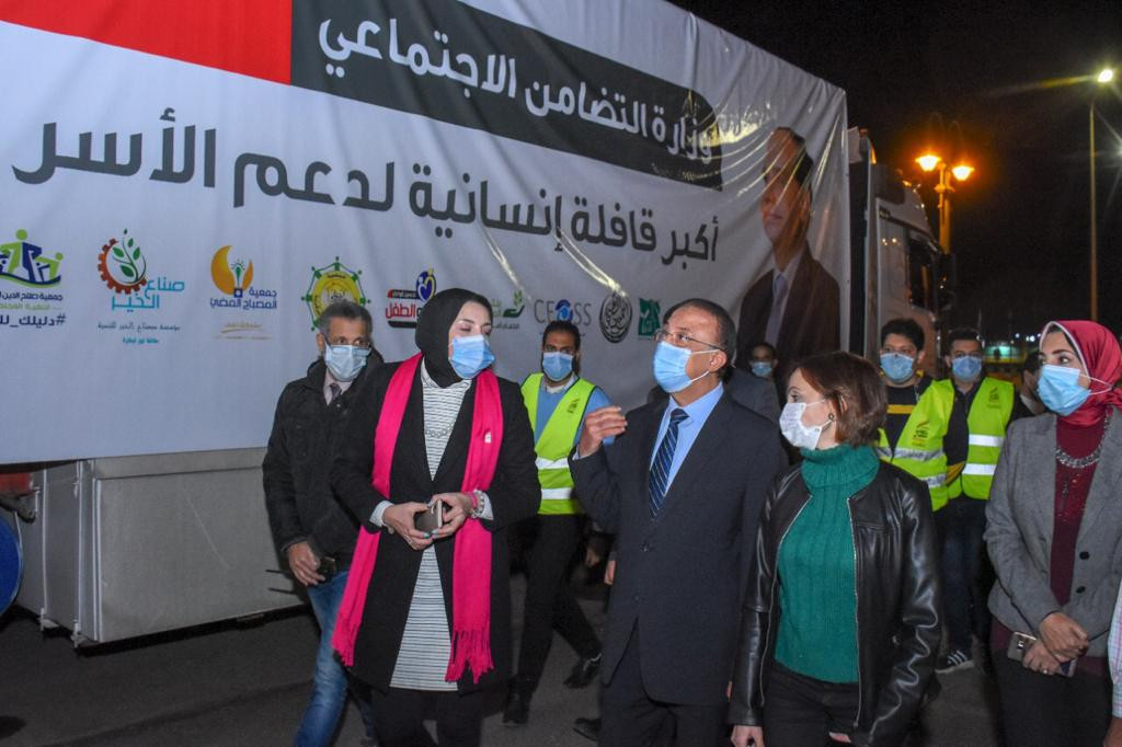 محافظ الإسكندرية يشهد وصول القافلة الإنسانية