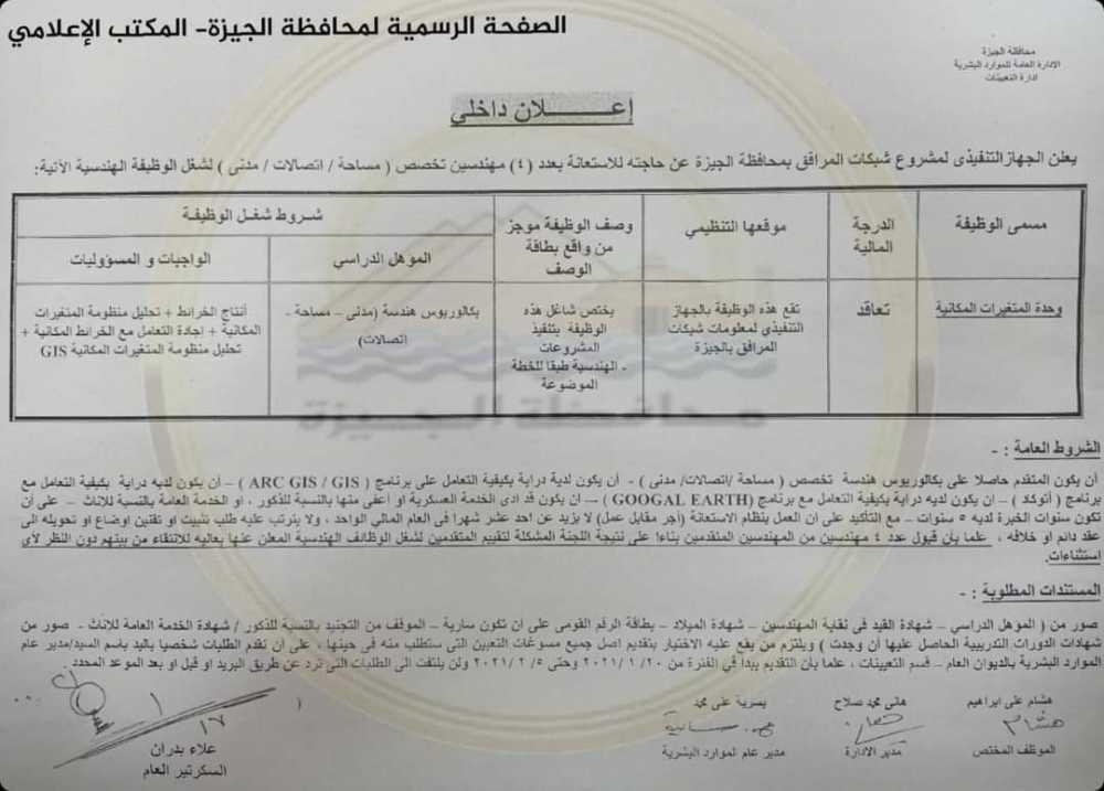 اعلان وظائف خالية محافظة الجيزة