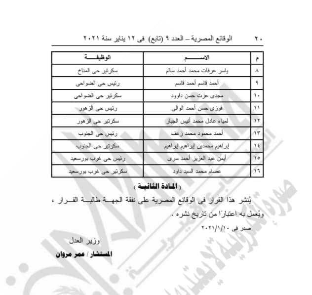 منح 16 مسئولا باحياء بورسعيد ومدينة بورفؤاد  الضبطية القضائية لمواجهة كورونا