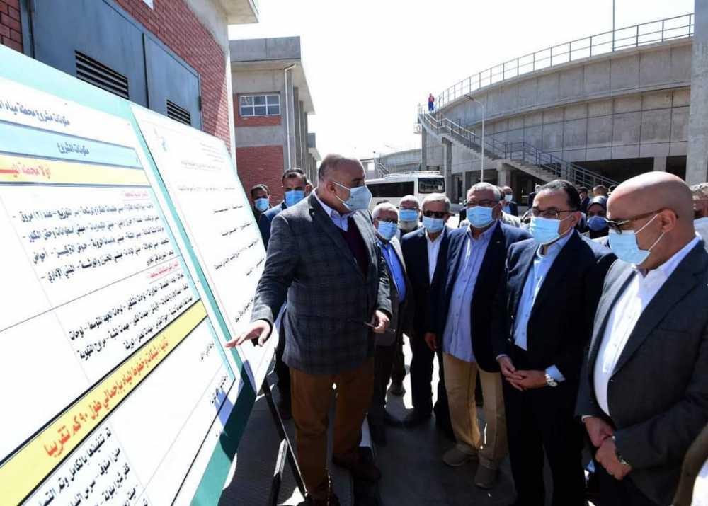 وزير الإسكان اثناء زيارتة للمنوفية محطة الحامول تكلفت مليار جنيه